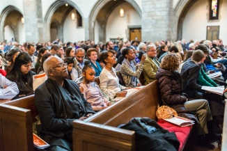 Interfaith Thanksgiving Celebration presented by the Hyde Park + Kenwood Interfaith Council with address by Elizabeth Davenport, Dean of Rockefeller Chapel and the Chicago Children's Choir + Hyde Park Neighborhood Choir on Thursday, November 22, 2018 at Rockefeller Memorial Chapel on the Chicago campus. (Photo by Nancy Wong)
